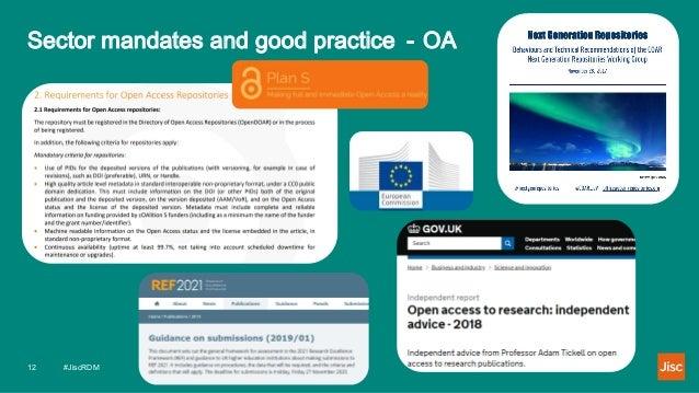 Sector mandates and good practice - OA #JiscRDM12