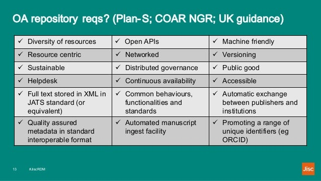 OA repository reqs? (Plan-S; COAR NGR; UK guidance) #JiscRDM13  Diversity of resources  Open APIs  Machine friendly  R...