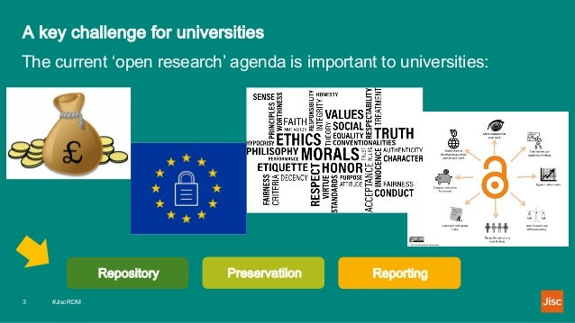 A key challenge for universities #JiscRDM3 The current 'open research' agenda is important to universities: Repository Pre...