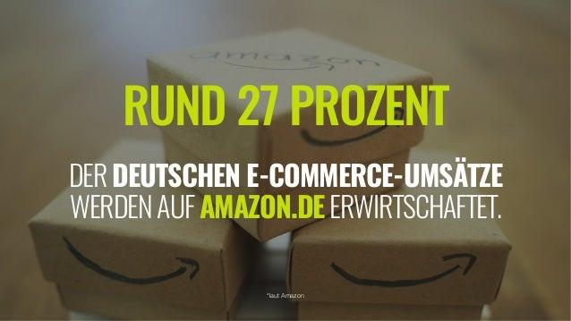 RUND 27 PROZENT  DERDEUTSCHEN E-COMMERCE-UMSÄTZE WERDENAUFAMAZON.DEERWIRTSCHAFTET. *laut Amazon