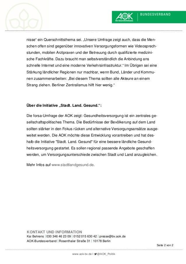 Pressemitteilung des AOK-Bundesverbandes vom 10.07.2019: Schaffung gleichwertiger Lebensverhältnisse: Gesundheitsversorgung einbeziehen Slide 2