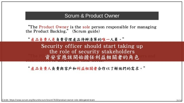 """28/90 Scrum & Product Owner """"The Product Owner is the sole person responsible for managing the Product Backlog."""" (Scrum gu..."""
