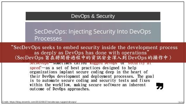 """39/90 DevOps & Security SecDevOps—sometimes called """"Rugged DevOps"""" or """"security at speed""""—as a set of best practices desig..."""