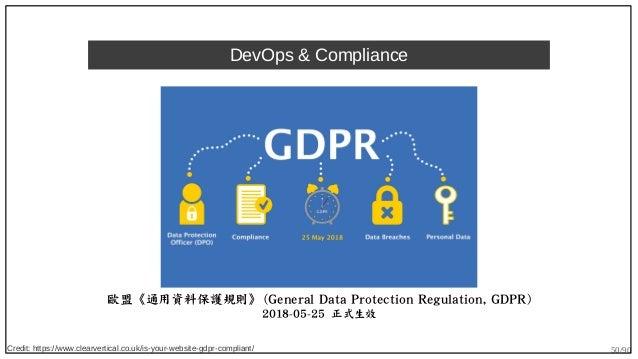 50/90 DevOps & Compliance 歐盟《通用資料保護規則》 (General Data Protection Regulation, GDPR) 2018-05-25 正式生效 Credit: https://www.clea...