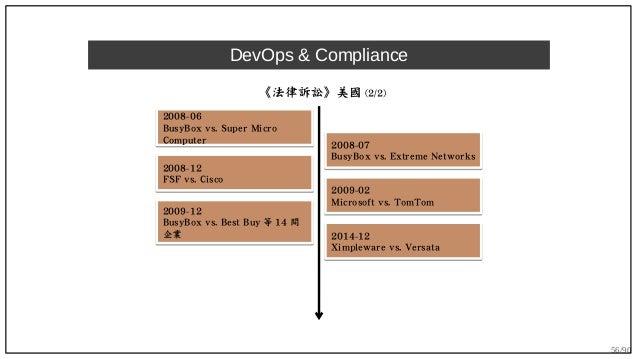 56/90 DevOps & Compliance 《法律訴訟》美國 (2/2) 2008-06 BusyBox vs. Super Micro Computer 2008-06 BusyBox vs. Super Micro Computer...
