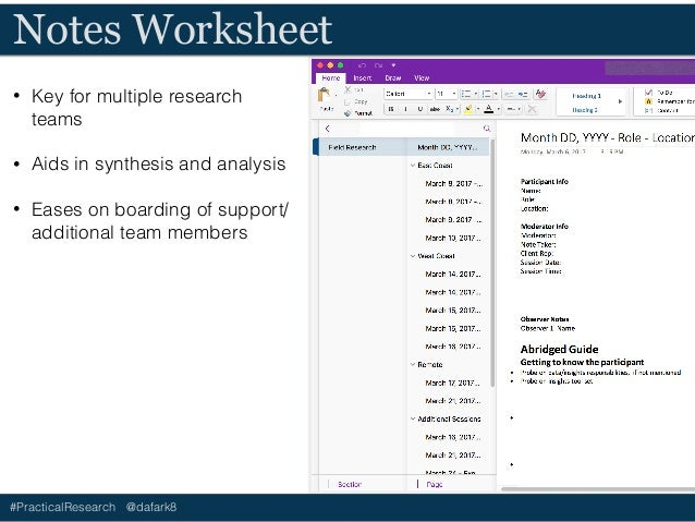 #PracticalResearch @dafark8 Notes Worksheet • Key for multiple research teams • Aids in synthesis and analysis • Eases on ...
