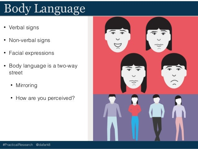 #PracticalResearch @dafark8 Body Language • Verbal signs • Non-verbal signs • Facial expressions • Body language is a two-...