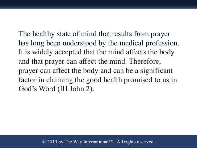 A Lifestyle of Prayer Is Healthy