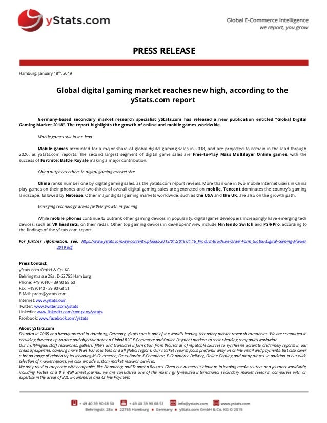 Press Release: Global Digital Gaming Market 2019