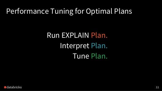 Performance Tuning for Optimal Plans Run EXPLAIN Plan. Interpret Plan. Tune Plan. 11
