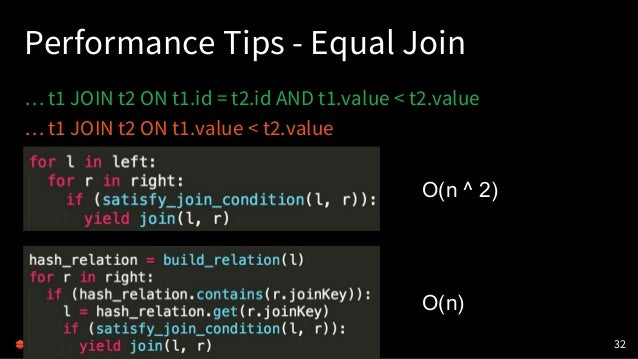 Performance Tips - Equal Join … t1 JOIN t2 ON t1.id = t2.id AND t1.value < t2.value … t1 JOIN t2 ON t1.value < t2.value 32...