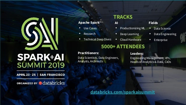 Apache Spark™ • Use Cases • Research • Technical Deep Dives AI • Productionizing ML • Deep Learning • Cloud Hardware Field...