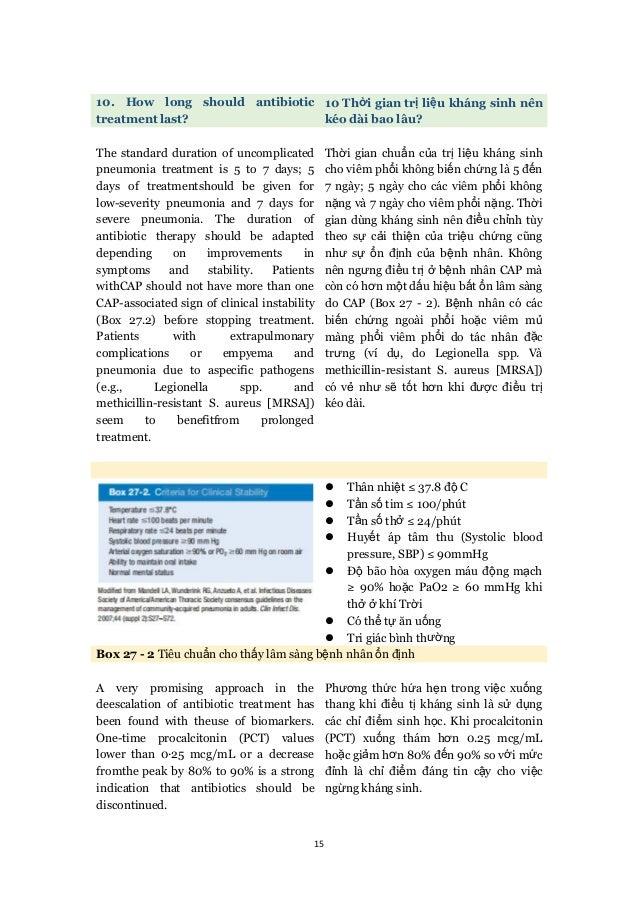 15 10. How long should antibiotic treatment last? 10 Thời gian trị liệu kháng sinh nên kéo dài bao lâu? The standard durat...