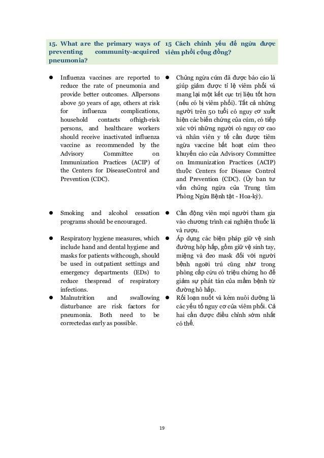 19 15. What are the primary ways of preventing community-acquired pneumonia? 15 Cách chính yếu để ngừa được viêm phổi cộng...