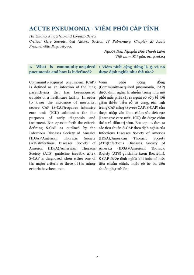 2 ACUTE PNEUMONIA - VIÊM PHỔI CẤP TÍNH Hui Zhang, Jing Zhao and Lorenzo Berra Critical Care Secrets. 6ed (2019). Section I...