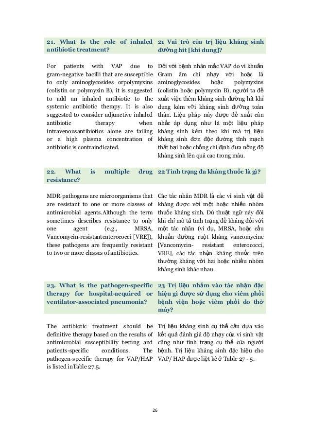 26 21. What Is the role of inhaled antibiotic treatment? 21 Vai trò của trị liệu kháng sinh đường hít [khí dung]? For pati...
