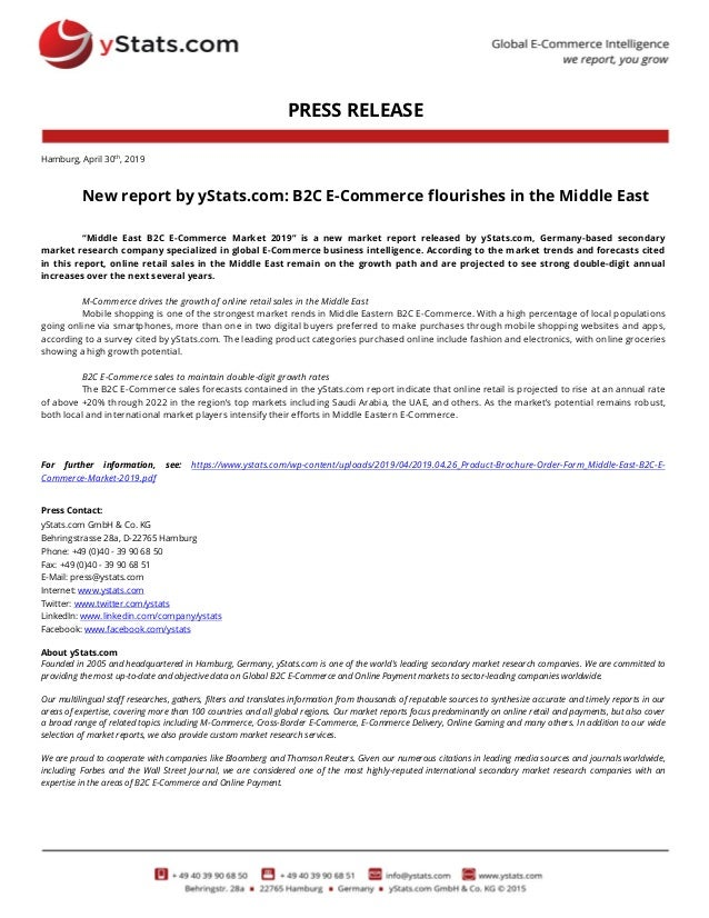 """PRESS RELEASE Hamburg, April 30th, 2019 New report by yStats.com: B2C E-Commerce flourishes in the Middle East """"Middle Eas..."""