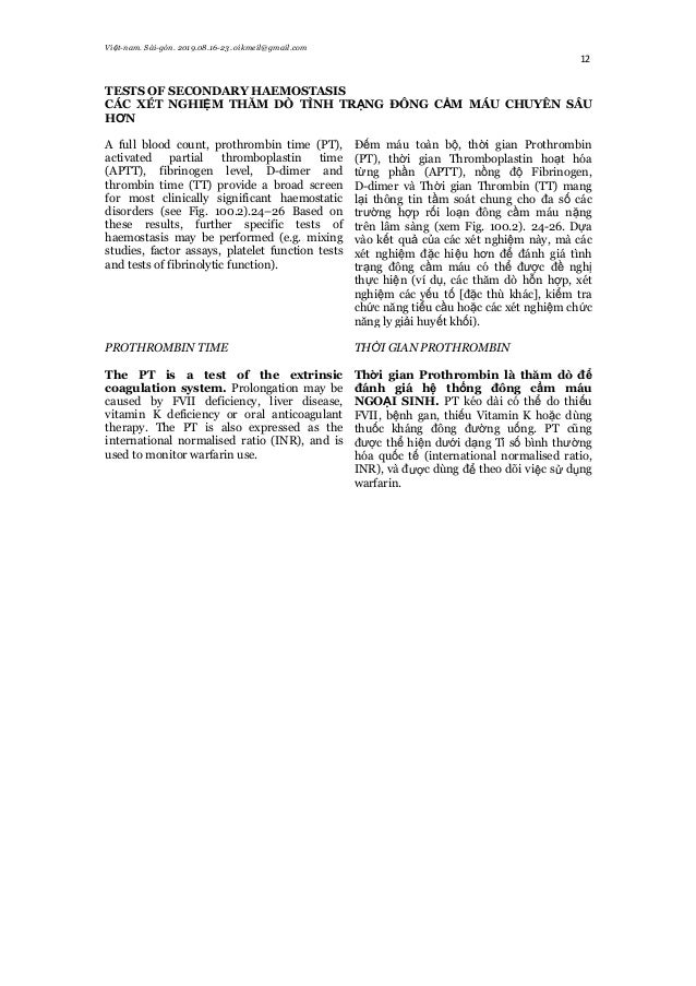 Việt-nam. Sài-gòn. 2019.08.16-23. oikmeil@gmail.com 12 TESTS OF SECONDARY HAEMOSTASIS CÁC XÉT NGHIỆM THĂM DÒ TÌNH TRẠNG ĐÔ...