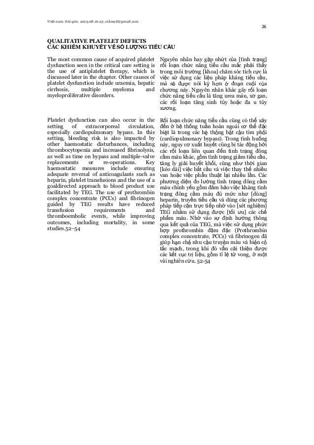 Việt-nam. Sài-gòn. 2019.08.16-23. oikmeil@gmail.com 26 QUALITATIVE PLATELET DEFECTS CÁC KHIẾM KHUYẾT VỀ SỐ LƯỢNG TIỂU CẦU ...