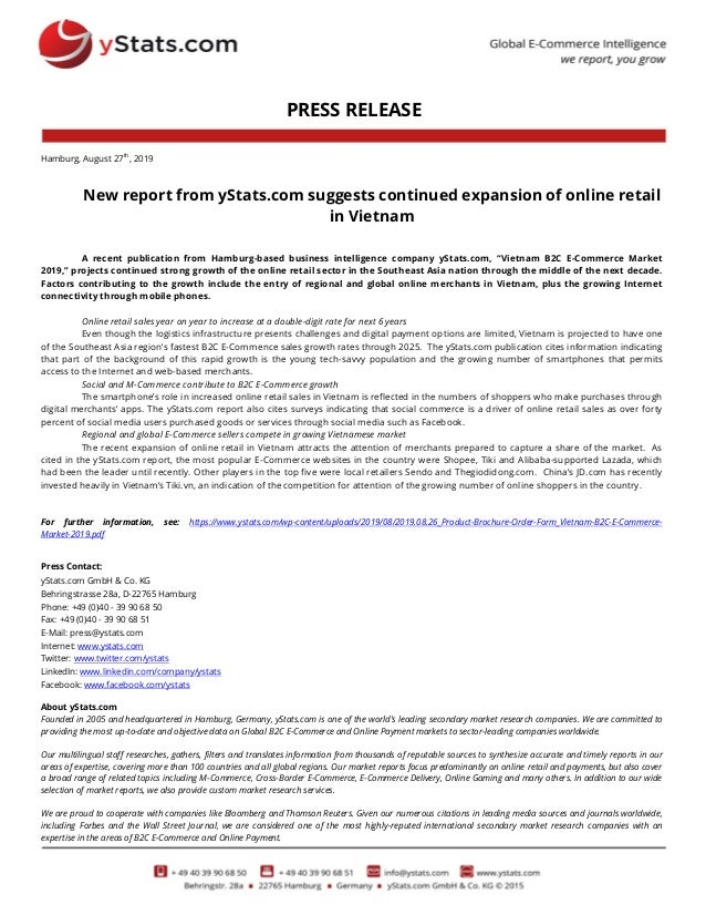 PRESS RELEASE Hamburg, August 27th , 2019 New report from yStats.com suggests continued expansion of online retail in Viet...