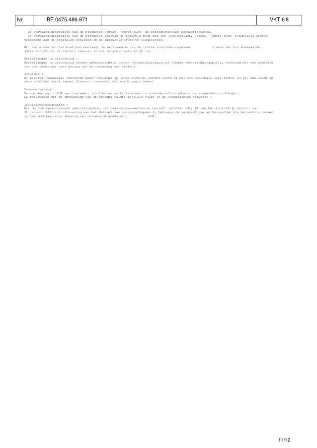 Nr. BE 0475.486.971 VKT 6.8 - De vervaardigingsprijs van de producten [omvat] [omvat niet] de onrechtstreekse productiekos...