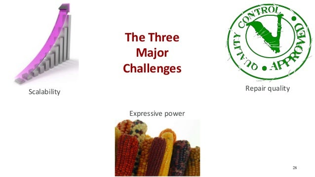 The Three Major Challenges 28 Scalability Repair quality Expressive power