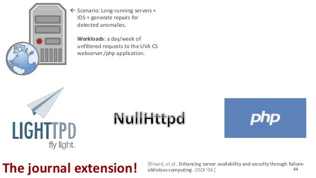44The journal extension!  Scenario: Long-running servers + IDS + generate repairs for detected anomalies.  Workloads: a ...