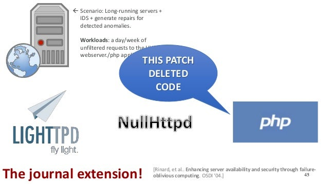 45The journal extension!  Scenario: Long-running servers + IDS + generate repairs for detected anomalies.  Workloads: a ...