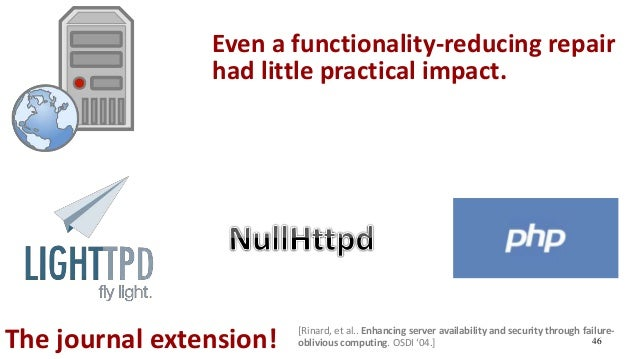 46The journal extension! Even a functionality-reducing repair had little practical impact. [Rinard, et al.. Enhancing serv...
