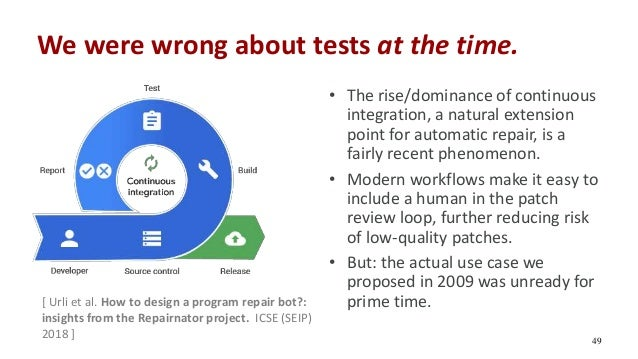 We were wrong about tests at the time. [ Urli et al. How to design a program repair bot?: insights from the Repairnator pr...