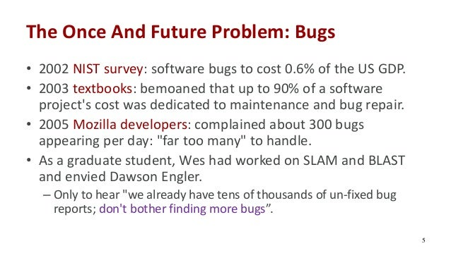 The Once And Future Problem: Bugs • 2002 NIST survey: software bugs to cost 0.6% of the US GDP. • 2003 textbooks: bemoaned...