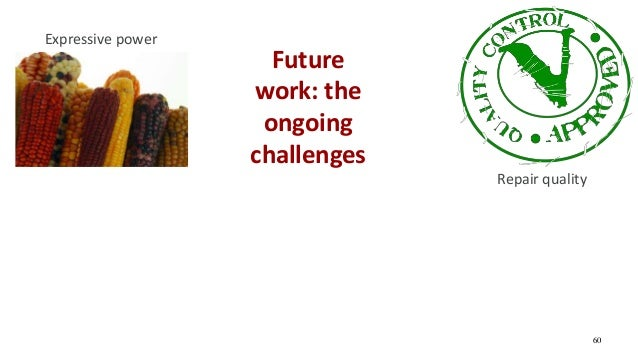 Future work: the ongoing challenges 60 Repair quality Expressive power