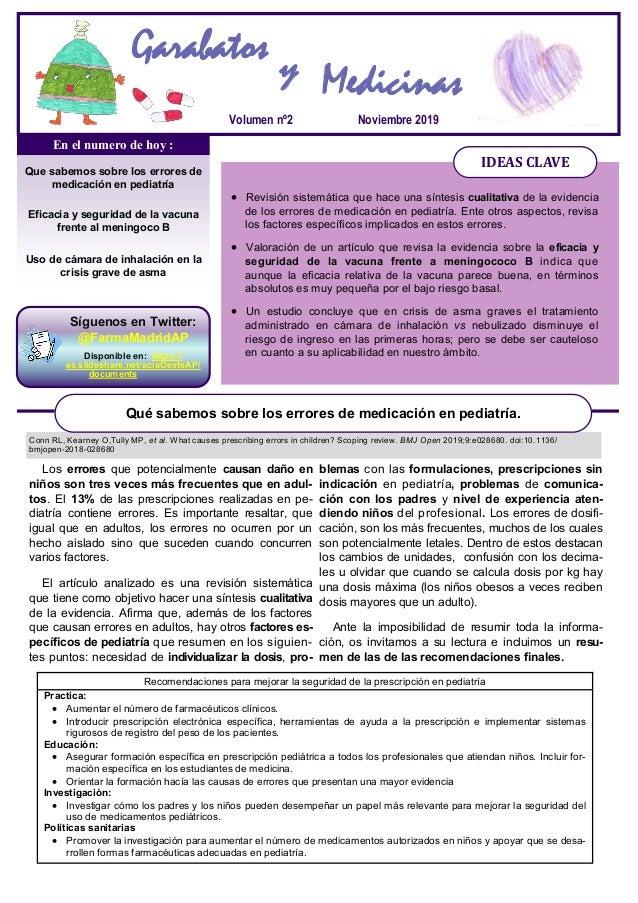Noviembre 2019Volumen nº2 Que sabemos sobre los errores de medicación en pediatría Eficacia y seguridad de la vacuna frent...