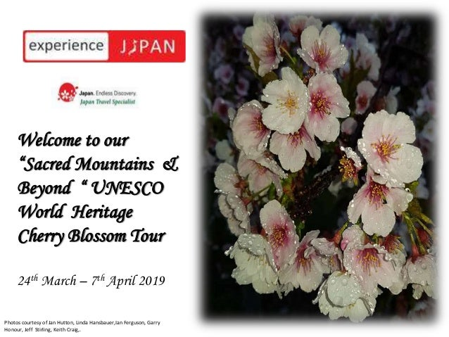 "5Welcome to our ""Sacred Mountains & Beyond "" UNESCO World Heritage Cherry Blossom Tour 24th March – 7th April 2019 © Kiku ..."