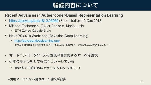 [DL輪読会]Recent Advances in Autoencoder-Based Representation Learning Slide 2