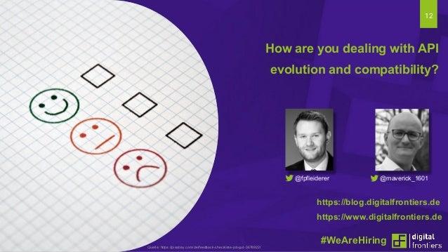 12 How are you dealing with API evolution and compatibility? #WeAreHiringQuelle: https://pixabay.com/de/feedback-checklist...