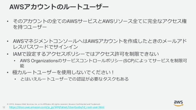 © 2019, Amazon Web Services, Inc. or its Affiliates. All rights reserved. Amazon Confidential and Trademark AWSアカウントのルートユー...