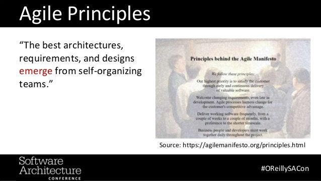 """@RuthMalan #OReillySACon """"The best architectures, requirements, and designs emerge from self-organizing teams."""" Agile Prin..."""