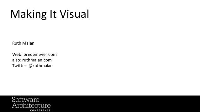 @RuthMalan #OReillySACon Making It Visual Ruth Malan Web: bredemeyer.com also: ruthmalan.com Twitter: @ruthmalan