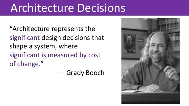 """Architecture Decisions """"Architecture represents the significant design decisions that shape a system, where significant is..."""