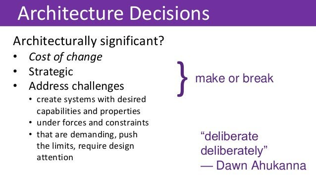 Architecturally significant? • Cost of change • Strategic • Address challenges • create systems with desired capabilities ...