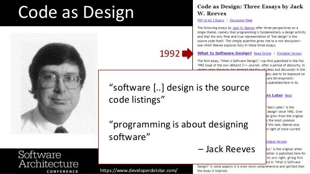 """Code as Design 1992 """"software [..] design is the source code listings"""" """"programming is about designing software"""" – Jack Re..."""