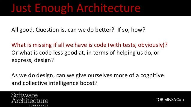@RuthMalan #OReillySACon All good. Question is, can we do better? If so, how? What is missing if all we have is code (with...