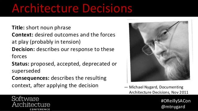 @RuthMalan #OReillySACon Title: short noun phrase Context: desired outcomes and the forces at play (probably in tension) D...