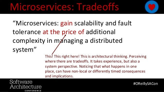 "@RuthMalan #OReillySACon Microservices: Tradeoffs #OReillySACon ""Microservices: gain scalability and fault tolerance at th..."