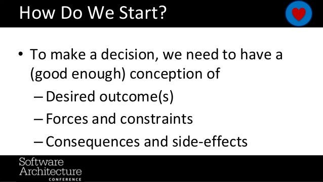 @RuthMalan #OReillySACon How Do We Start? • To make a decision, we need to have a (good enough) conception of – Desired ou...