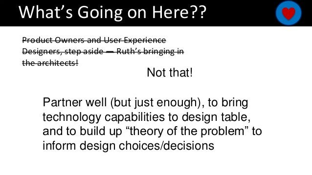 What's Going on Here?? Product Owners and User Experience Designers, step aside — Ruth's bringing in the architects! Not t...