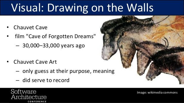 """@RuthMalan #OReillySACon Visual: Drawing on the Walls • Chauvet Cave • film """"Cave of Forgotten Dreams"""" – 30,000–33,000 yea..."""