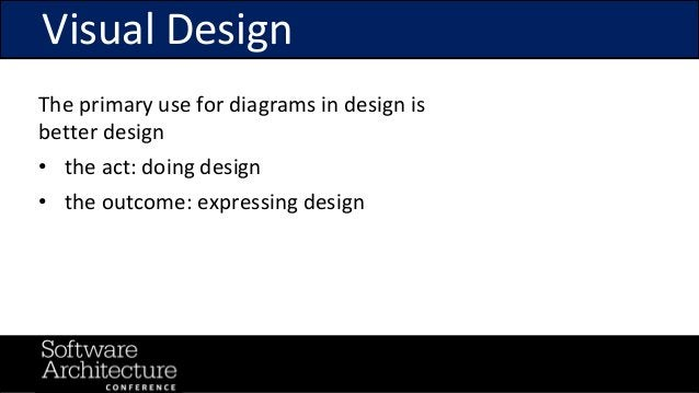 @RuthMalan #OReillySACon Visual Design The primary use for diagrams in design is better design • the act: doing design • t...