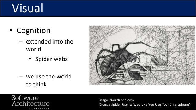 """@RuthMalan #OReillySACon Visual Image: theatlantic.com """"Does a Spider Use Its Web Like You Use Your Smartphone?"""" • Cogniti..."""